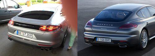 Jämförelse mellan nya och gamla Porsche Panamera. Baken bjuder på största förändringarna.