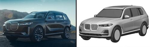 BMW Concept X7 iPerformance till vänster, X7 till höger.