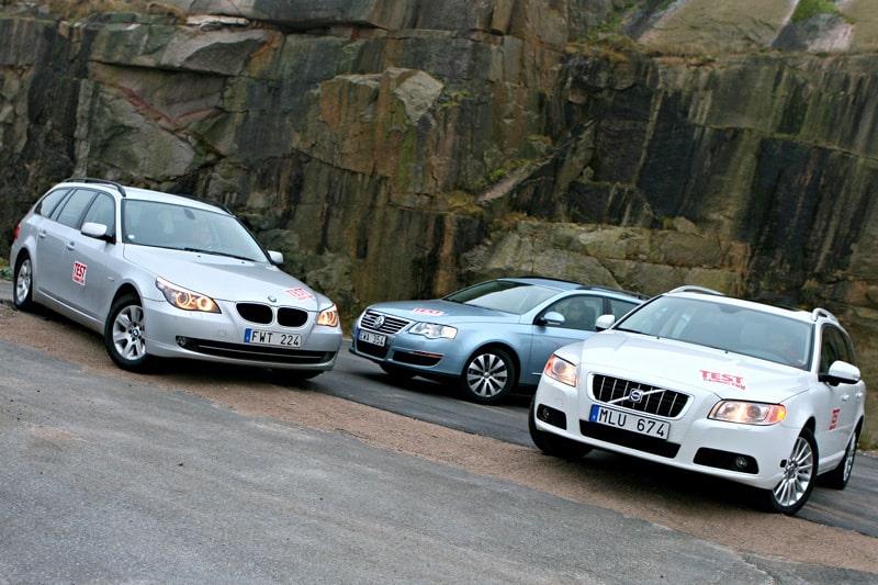BMW 520d, Volkswagen Passat BlueMotion och Volvo V70 2,0F.