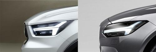 Nya Volvo V40 till vänster, nya Volvo S90/V90 till höger.