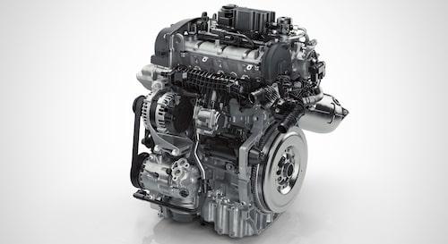 Här ses en trecylindrig Volvo Drive-E-bensinmotor, något som kommer inom en snar framtid.