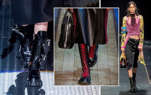 Klumpiga, snörade kängor hos Prada, Versace och Alexander McQueen.