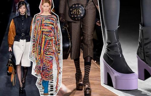 Våga platåskorna till vardagslooken – här på catwalken hos Givenchy, Stella McCartney, Michael Kors och Dries van Noten AW19.
