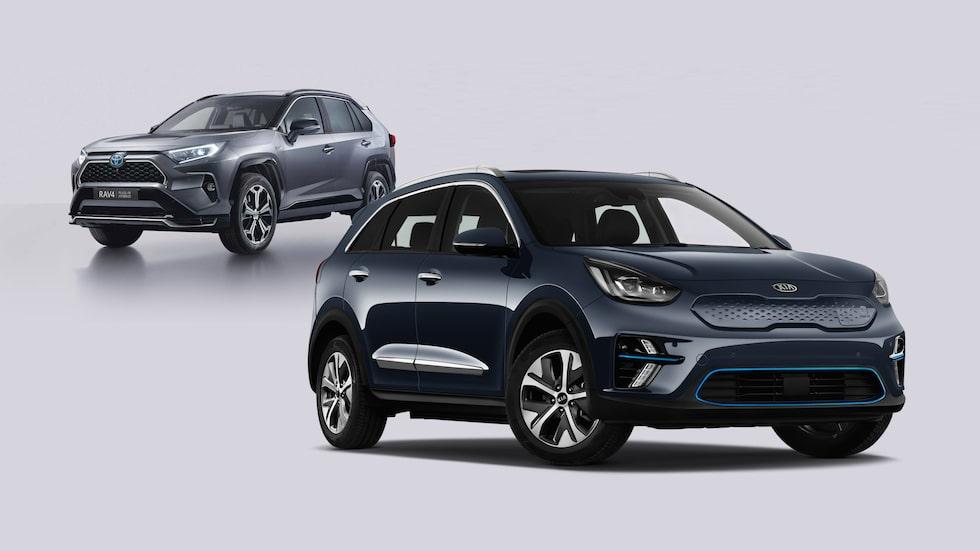Kia e-Niro, Sveriges just nu populäraste elbil, och Toyota RAV4 Laddhybrid, Sveriges tredje mest populära laddhybrid.