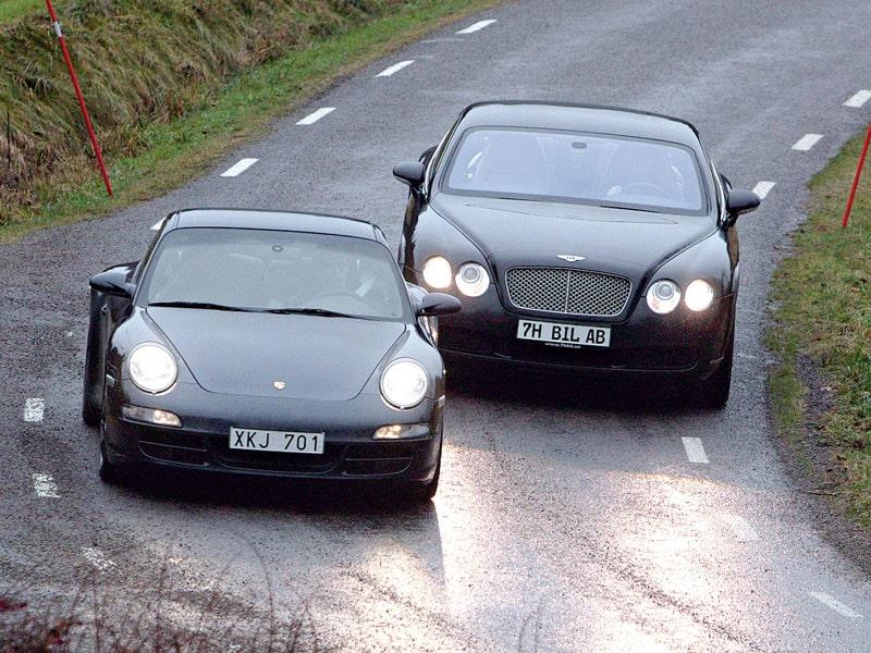 Provkörning av Bentley Continental GT och Porsche 911 Carrera 4S