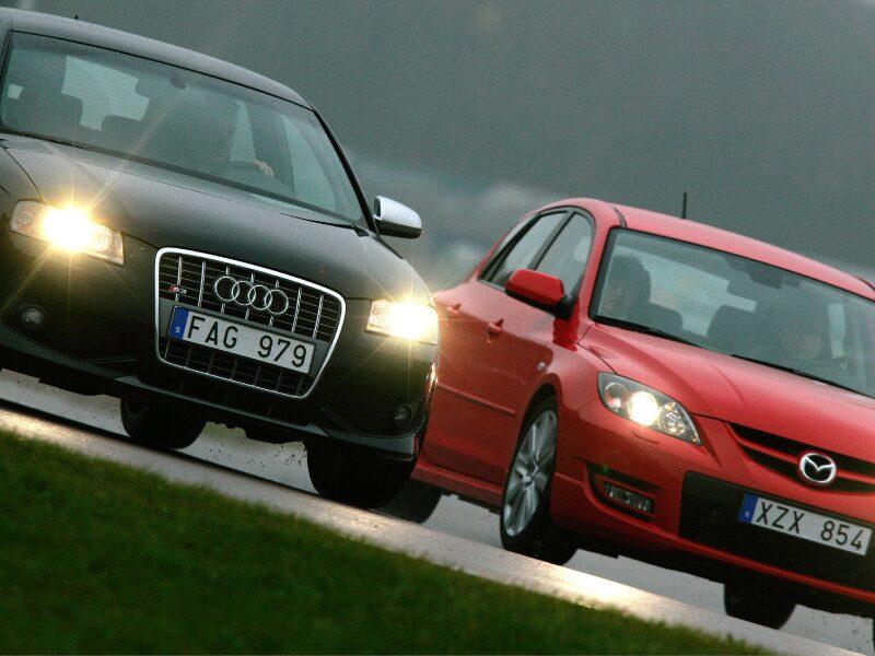 Provkörning av Audi S3 och Mazda 3 MPS