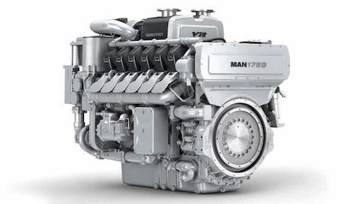En dieselmotor för fartyg från MAN, och den del av företaget som nu ska säljas. Just denna sitter dock inte i ett fartyg, i alla fall inte när bilden togs.