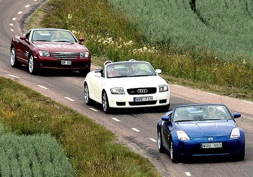 Nissan 350Z GT Roadster mot Chrysler Crossfire Roadster och Audi TT Roadster Quattro