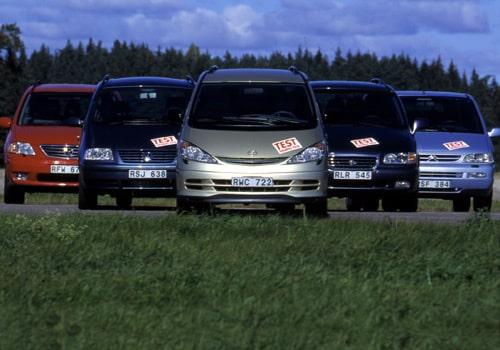 Citroën Evasion 2,0, Hyundai Trajet GLS, Mazda MPV och Toyota Previa 2,4 Aut