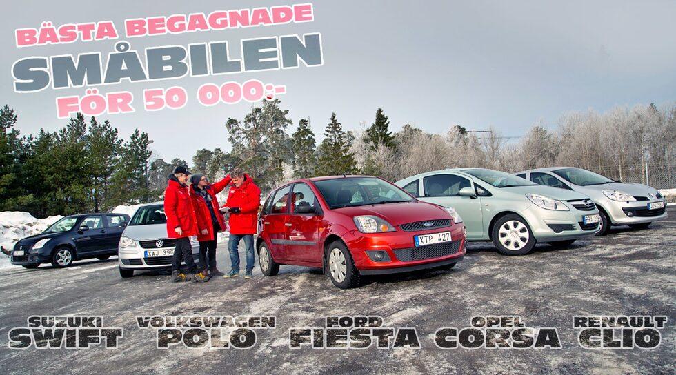 Suzuki Swift, Volkswagen Polo, Ford Fiesta, Opel Corsa och Renault Clio