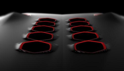 Andra detaljbilden från Lamborghini på vad som ska visas i Paris. Tio hål, kan det betyda V10-motor och därmed inte en detaljbild från Murciélago-efterträdaren?