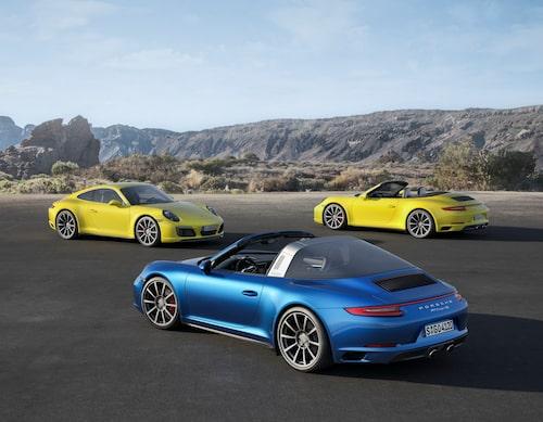 Porsche 911 Carrera 4S, 911 Carrera 4S Cabriolet och 911 Targa 4S