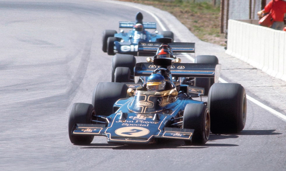 Ronnie Peterson i sin Lotus på Anderstorp 1973