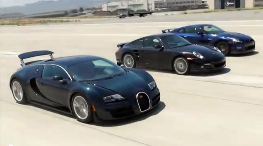 Bugatti Veyron SuperSport, Porsche 911 Turbo S och Nissan GT-R