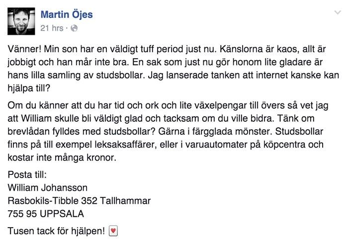 Martins önskan har spridit sig som en löpeld på Facebook.