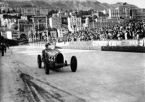 Louis Chiron i en Bugatti Type 51 vid Monacos Grand Prix 1931.