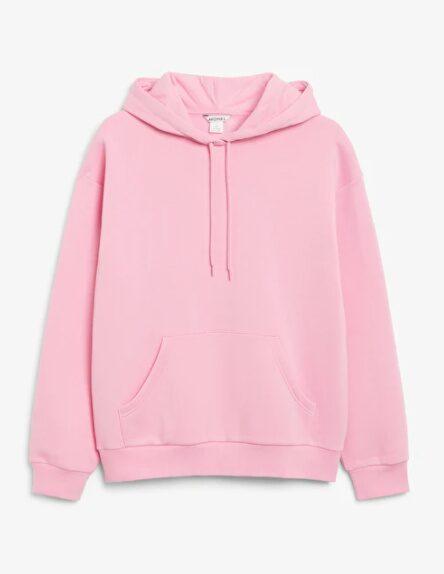 Rosa hoodie från Monki.