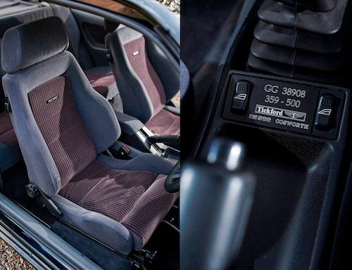 Recaro-stolarna ger bra sittkomfort och fint sidostöd, utan tvekan några av dåtidens bästa stolar. Det är detaljerna som avgör. Mitt i bilen, alldeles bakom växelspaken sitter den lilla plaketten som förkunnar vad bilen är.