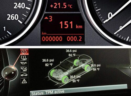 Överst: Exempel på växlingsindikator (siffran tre med pil upp). Nederst: Exempel på däcktryckskontroll (TPMS).