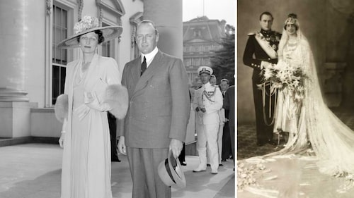 Märtha och Olav utanför Vita huset den 29 juni 1939 för att besöka presidentparet. Bilden till höger är derasbröllopsfoto från 1929.
