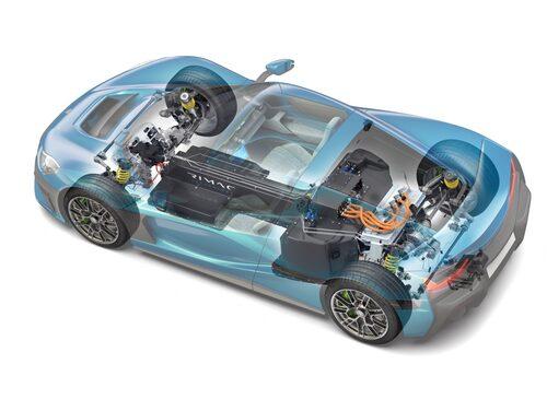 Rimac kallar monocoque-konstruktionen för världens mest avancerade samtidigt som den är extremt vridstyv. Batterikonstruktionen bidrar till vridstyvheten.