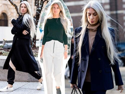 """""""För att matcha mitt hår håller jag min stil enkel: jag bär aldrig färg eller mönster, utan mest vitt, grått, svart, marinblått och khakigrönt."""""""