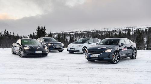 Dessa fyra elbilar – Porsche Taycan, Audi e-tron, Volkswagen ID.3 och Polestar 2 – kan du läsa mer om när du klickar på bilden.
