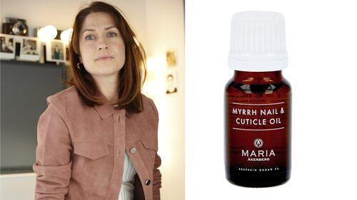 Myrra Nail & Cuticle Oil från Maria Åkerberg är modechef Lisa Petterson vinterfavorit för sköra naglar.