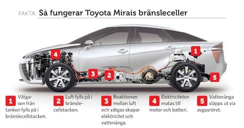 Mirais båda vätgastankar som klarar tryck på upp till 700 bar är placerade framtill och baktill i bilen.