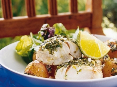 Örtbakad fisk och potatis
