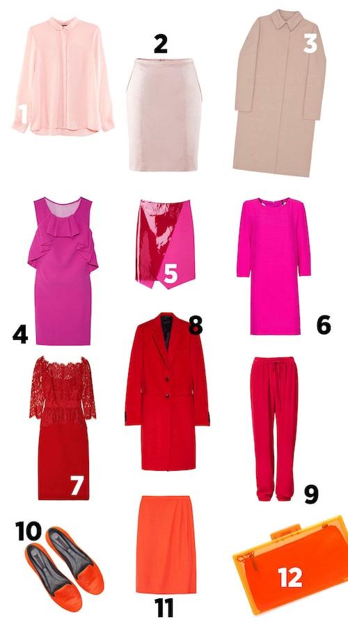 1 Skjorta från H&M/Hm.com 249 kr 2 Pennkjol från H&M/Hm.com, 199 kr 3  Kappa från COS/Cosstores.com, 1 500 kr 4 Klänning från Diane von Furstenberg/Net-a-porter.com, 4 600 kr 5 Kjol från Monki/Monki.com, 350 kr 6 Klänning från Mango/Mango.com, 299 kr 7 Klänning från Notte by Marchesa/Net-a-porter.com, 7 100 kr 8 Kappa från Joseph/Net-a-porter.com, 6 500 kr 9 Byxor från H&M/Hm.com, 499 kr 10 Skinnloafers från Zara/Zara.com 679 kr 11 Kjol från J.Crew/Net-a-porter.com, 1700 kr 12 Väska från Zara/Zara.com, 249 kr