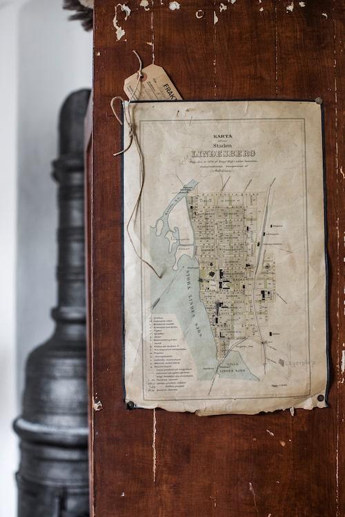 """Den gamla kartan över """"Staden"""" Lindesberg från 1878 hittade Elin"""