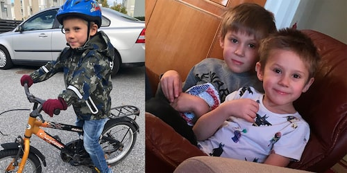Frank på cykel och Frank (till höger) med storebror Jack.