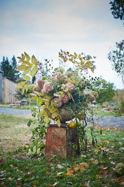 Sarah använder gärna blommor och blad på förfallets rand.