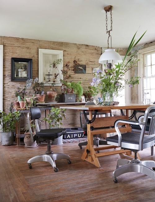 På köksbordet står ett bångstyrigt fång med akleja, rosenhallon, klematis och skäggiris.