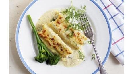 Cannelloni med gravad lax  och spenat