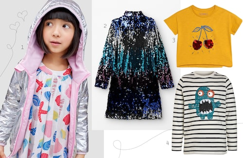1. Silverfärgad, vändbar jacka, 599 kr. 2. Glittrig paljettklänning, 429 kr. 3. T-shirt med paljettryck, 129 kr. 4. Randig topp med paljettryck, 279 kr.