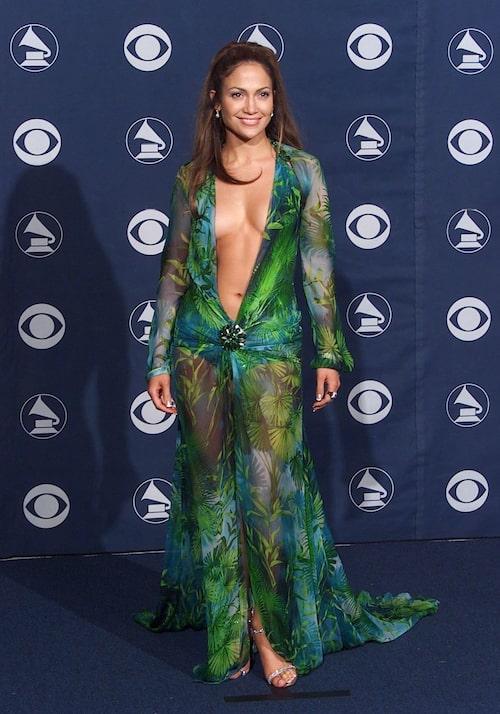 Jennifer Lopez i den gröna Versace-klänningen på Grammy-galan 2000.