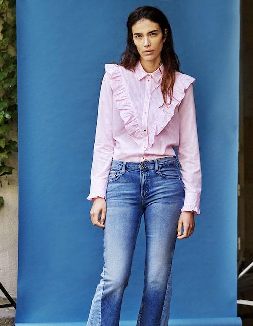 Skjorta av bomull, stl 32–44, 399 kr, River Island. Jeans av bomull/ elastan, stl 25–31, 1300 kr, Calvin Klein Jeans.