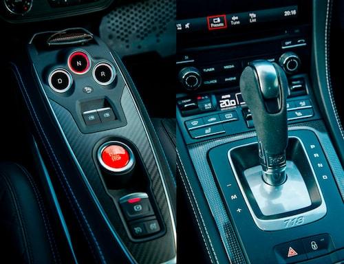 Många knappar i Alpine känns igen från Renault. Växlarna väljs med tryckknappar på mittkonsolen. Dubbelkopplingslådan med sju växlar gör Porschen hela 33900 kronor dyrare.