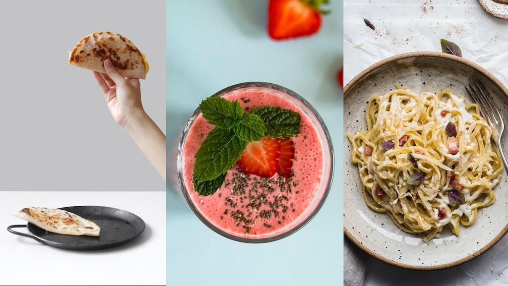 Här kommer tre tips på snabba middagar och mellanmål som barnen gillar: quesadilla, smoothie och pasta carbonara!
