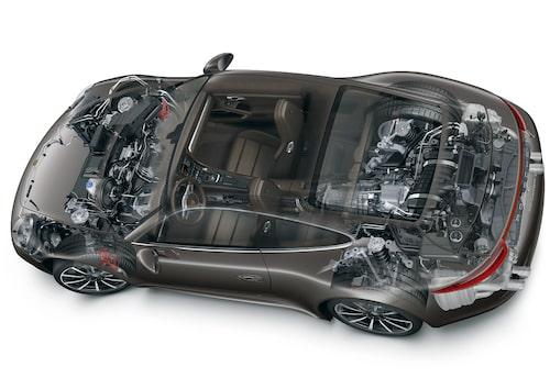 Teknikspäckat under skalet. Fyrhjulsdriften kommer  från 997 Turbo.