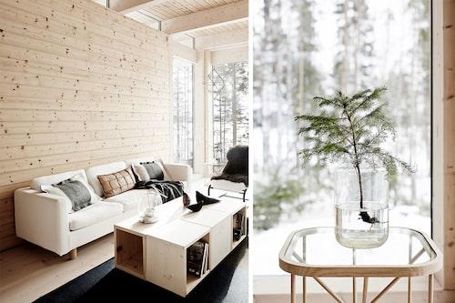 Soffan och stolarna (svenska 70-talsstolen Stuns från Ikea) räddades från föräldrarnas gamla stuga. Soffbordet har Kati byggt av träkuber, mattan är från Woodnotes. De filtade ullkuddarna i soffan är hennes eget märke, nystartade Bonden (bonden.fi). Kati favoriserar ogenerat finsk design, träfåglarna på soffbordet heter Spirit bird och är gjorda av illustratören Teemu Järvi. Sidobordet Twiggy av Ilkka Suppanen med Woodnotes, med ett barrträdskott från skogen.
