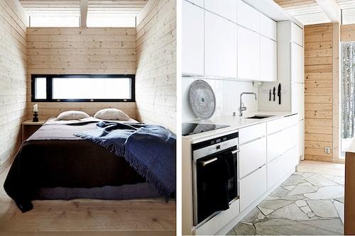 Enkelheten i sovrummen – som alla ligger längs husets ena långsida – känns nästan klosterlik. Landskapet framträder som en tavla genom det avlånga fönstret. Det öppna köket är enkelt och tidlöst, med handtagslösa luckorna Mano från Kvik. Vitvaror från Siemens, blandaren Grohe och bänkskivan är i polyesterbaserad durat.