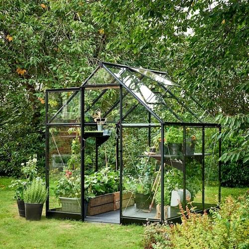 Växthuset Qube finns i tre olika storlekar mellan 3,9 och 6,4 kvadratmeter.