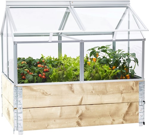 """TIPS! Genom att placera ett litet """"glashus"""" ovanpå dina öppna odlingar skapas ett slags växthus vilket förlänger odlingssäsongen"""