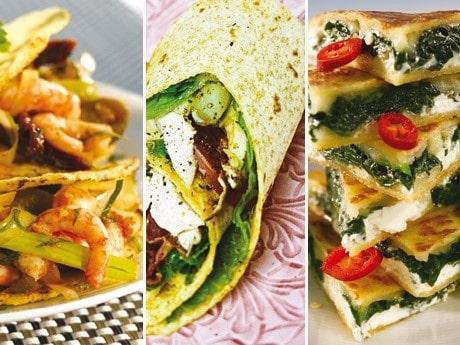 <p>Tacos med r&auml;kor, kyckling club och quesadillas.</p>