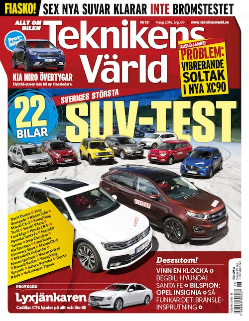 Mer om problemet med Volvo XC90:s taklucka läser du i Teknikens Värld18/2016.