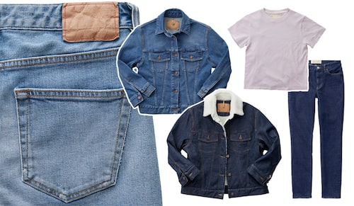 Jeans av bomull lycra, stl 25-32 32-34, 1 595 kr. Jeansjacka av bomull lycra, stl XS-L, 1 995 kr. Jeansjacka av bomull lycra, stl XS-L, 2 995 kr. Ljuslila t-shirt av bomull, stl XS-L, 495 kr. Jeans av bomull lycra stl 24-32 32 34, 1 395 kr.