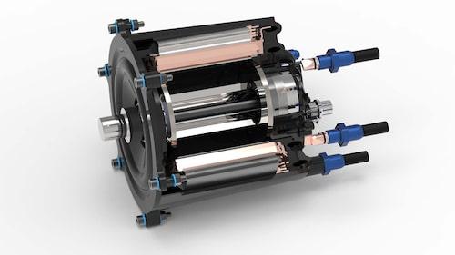 Forskarnas elmotor med plasthölje i genomskärning